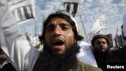 9일 인도 이슬라마바드에서 모하메드 아프잘 구르에 대한 사형 집행에 반대해 벌어진 시위.
