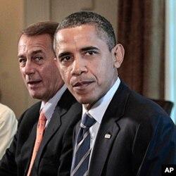 Le président Obama (à droite) et le leader républicain John Boehner
