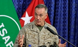 Top U.S. military commander in Afghanistan, Joseph Dunford, at ISAF headquarters in Kabul, June, 18, 2013.