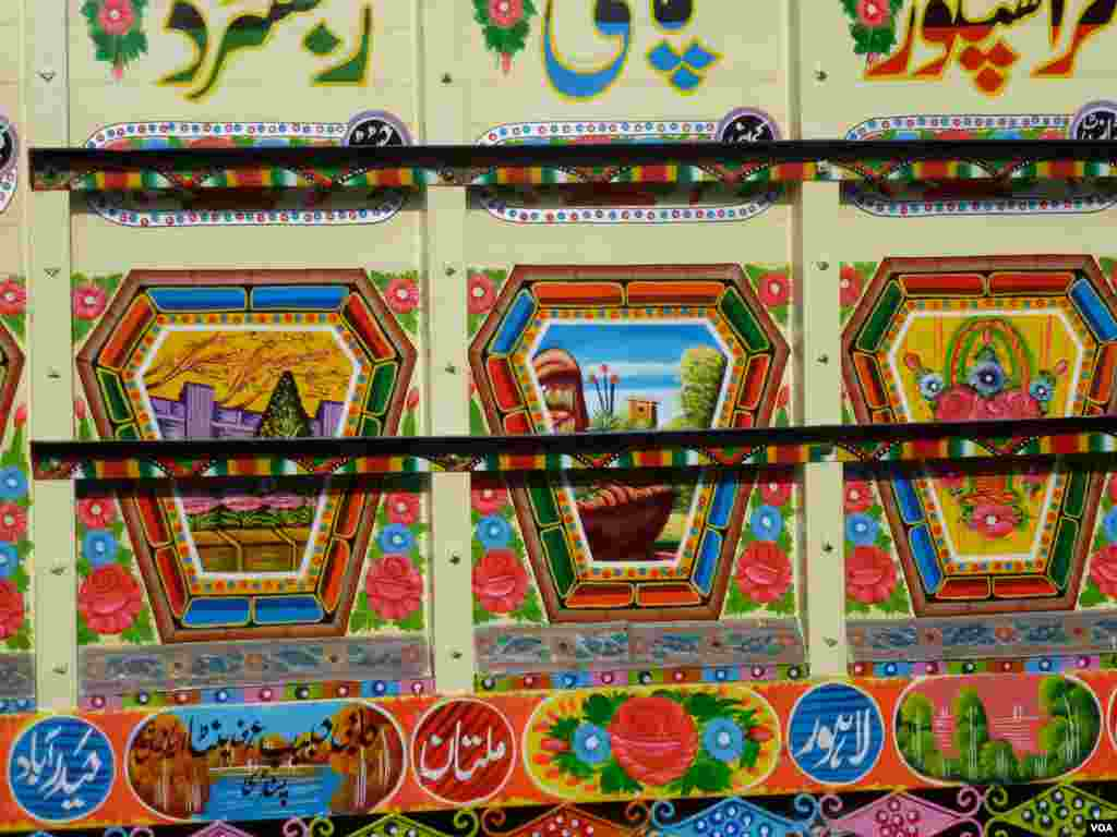 A close-up showing the detail of a heavily-decorated bus in Islamabad, Pakistan, July 10, 2012. (S. Gul/VOA)