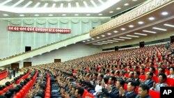 지난달 18일 열린 김정일 당사업 시작 기념 중앙보고대회.