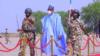 Shugaba Muhammadu Buhari yayin ziyararsa a Borno (Facebook/Bashir Ahmad)
