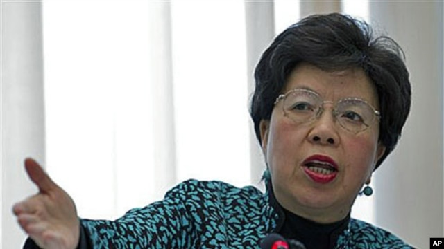 Margaret Chan, Director General of the World Health Organization, delivers her statement during the launch of the global plan to prevent resistance to potent malaria treatment at the WHO headquarters, Geneva, Switzerland, 12 Jan 2011.