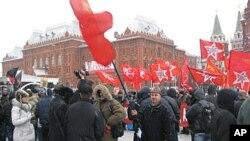 去年12月18日共產黨在莫斯科市中心舉行的抗議集會