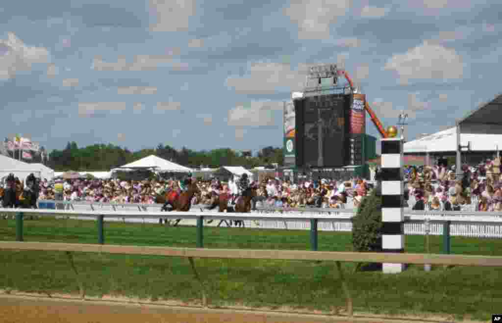 Crowds enjoyed 11 races prior to the Preakness Stakes, ran on grass and dirt courses. (VOA - C. Babb)