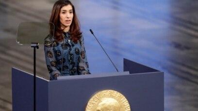 Cô Nadia Murad trong buổi lễ nhận giải Nobel Hòa bình cuối năm 2018.