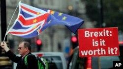 """Учасник протесту проти """"Брекзиту"""" під парламентом у Лондоні 4 вересня 2018 р."""