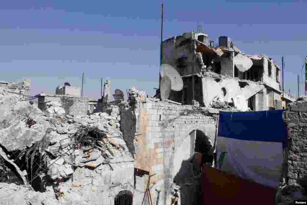 Damaged buildings in the old city of Aleppo, Syria, Sept. 1, 2013.