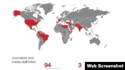 Zemlje u kojima su u 2018. stradali novinari. Izvor: IFJ