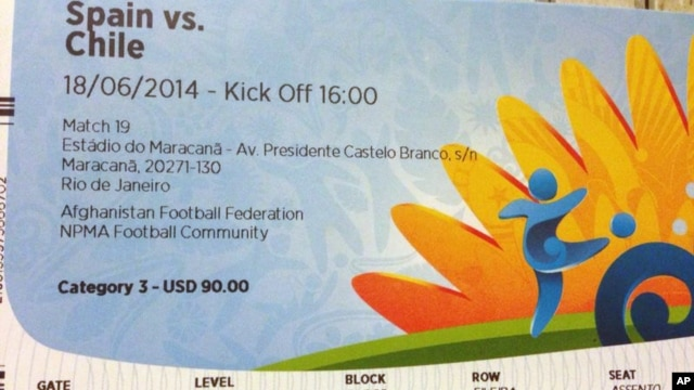 This June 4, 2014 photo shows a $90 U.S. dollar FIFA ticket for the Spain vs. Chile World Cup game, bought by a fan on Stubhub.com for $775 U.S. dollars, in San Juan, Puerto Rico.