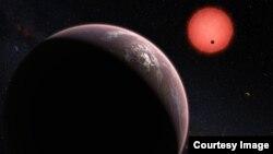 Illustration de trois exoplanètes en orbite autour de l'étoile naine TRAPPIST-1. Au moins sept planètes gravitent autour de cette étoile à 39 années-lumière de la Terre.