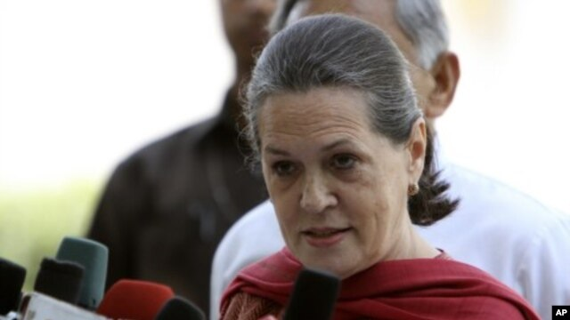 Sonia Gandhi, chief of India's ruling Congress party, addresses the media after attending a party meeting in New Delhi, March 7, 2012.