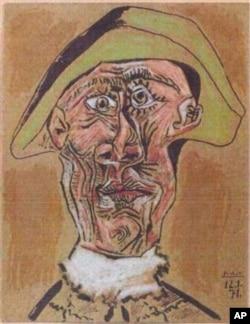 16일 도난당한 7점의 작품 중 하나인 파블로 피카소의 '광대의 초상' (1971년)