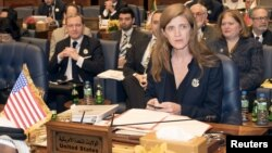 U.S. Ambassador to the United Nations Samatha Power attends the Third International Humanitarian Pledging Conference for Syria in Bayan Palace, Kuwait City, Kuwait, March 31, 2015.