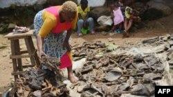 رئیس یک گروه فروش گوشت جنگلی که عامل شیوع تب ابولا شناخته شده و لیبریا فروش آن را ممنوع کرده است. ۷ اکتبر ۲۰۱۴، مونرووا، لیبریا