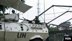 Tentara PBB berpatroli dalam kendaraan tank mereka di Republik Demokratik Kongo (foto: dokumentasi).