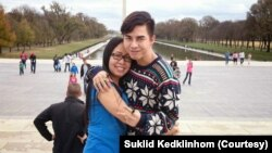 """Suklid Kedklinhom, whose stage name is """"Miss LaBella Mafia"""", poses with his mother in D.C."""