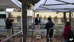 沙特驻伊斯坦布尔领馆外的新闻媒体