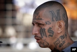 FILE - A member of the MS-13 gang attends mass at a prison in Ciudad Barrios, El Salvador, March 26, 2012. U.S. law enfrocement aims to dismantle the entire leadership structure of the MS-13, including those members who are active overseas.