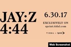 آگهی با الهام از روجلد ساده ۴:۴۴ آلبوم جدید «جی زی» که روی سایت «تایدال» منتشر شد