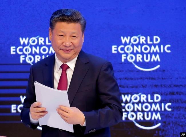 中国国家主席习近平2017年1月17日在瑞士达沃斯的世界经济论坛上。