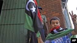 A child holds a Kingdom of Libya flag as a group of Libyans living in Zimbabwe demonstrate outside the Libyan embassy in the capital of Harare, August 24, 2011 (file photo)