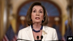 Speaker of the House Nancy Pelosi, D-Calif., makes a statement at the Capitol in Washington, Thursday, Dec. 5, 2019. Pelosi said she had directed Democrat committee heads to write articles of impeachment against President Donald Trump.