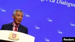 Singapore's Prime Minister Lee Hsien Loong delivers a keynote address at the IISS Shangri-la Dialogue in Singapore, May 31, 2019.
