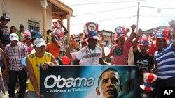 Kolumbiyaning Turbako shaharchasida sammit arafasida Obamani qutlagan namoyishlar, 11-aprel, 2012-yil