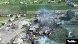 Una fábrica de juegos pirotécnicos (polvorín) explotó en la zona de La Saucera, en el municipio de Tultepec, Estado de México, informó la oficina de Protección Civil del estado. Foto: @GrupoRelampagos. Julio 5 de 2018.