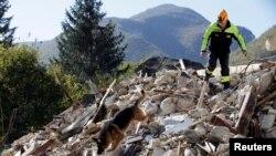 Vatrogasac sa psom pretražuje srušenu zgradu u mestu Borgo Sant'Antonio posle zemljotresa, Italija 27. oktobar, 2016.
