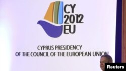 Deputy Minister to the President for European Affairs Ambassador Andreas Mavroyiannisspeaks at a ceremony at which the CyprusEU presidency logo was unveiled, in Nicosia May 9, 2012.