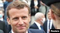 """法国总统马克龙在""""巴士底日""""的庆祝活动上。(2020年7月14日)"""