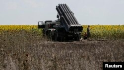 Giàn phóng tên lửa của Ukraina gần thành phố phía đông Seversk, ngày 12/7/2014.