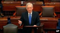 参议院多数党领袖麦康奈尔在参议院会场发言。(2019年12月19日)