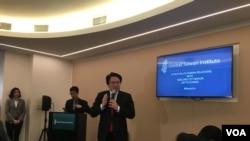 台灣基隆市長林右昌2019年3月13日在華盛頓全球台灣研究中心(GTI)演講(美國之音鍾辰芳拍攝)