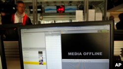 Hacked computer screen in hack attack targeting the French TV network TV5 Monde (AP Photo/Christophe Ena)