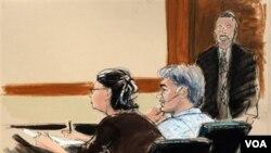 Tampak dalam gambar sketsa persidangan di New York, pembela Sabrina Shroff (kiri), terdakwa rencana pembunuhan Dubes Arab di Amerika, Adel Al-Jubeir, Manssor Arabsiar dan petugas sidang (11/10).
