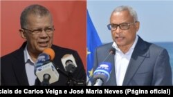 Carlos Veiga (esq) e José Maria Neves (dir), candidatos presidenciais, Cabo Verde