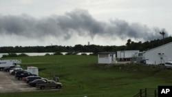 SpaceX 火箭9月1日在佛羅里達州的發射台測試時發生爆炸。圖為爆炸現場的濃煙。