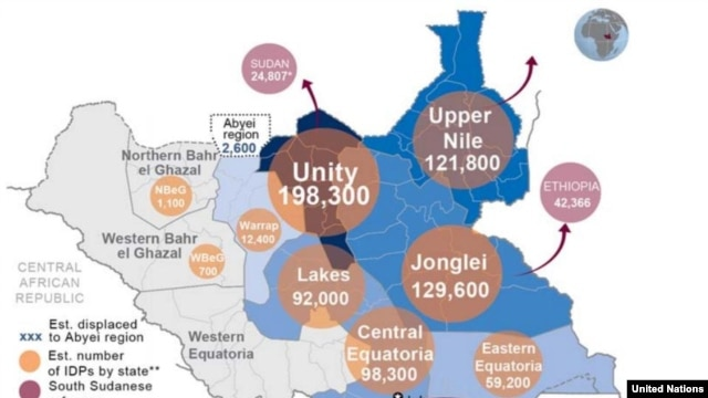 The U.N. Office for the Coordination of Humanitarian Affairs (OCHA) says that as of Feb. 17, 2014, more than 716,000 people are displaced inside South Sudan and another 156,800 people have fled to nearby countries.