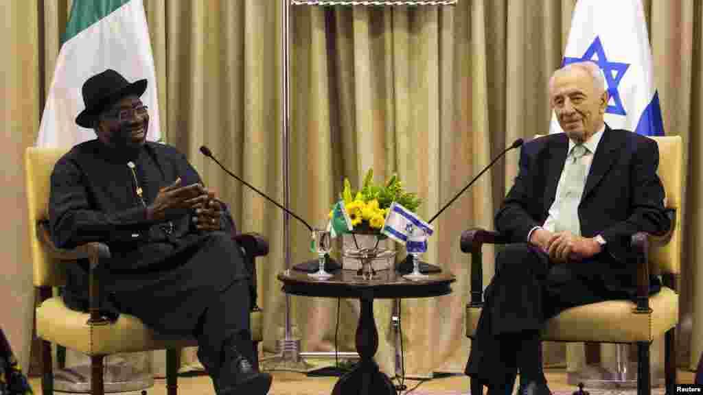 Shugaba Goodluck Jonathan ya sadu da jami'an Isra'ila, har da shugaban kasar Shimon Peres domin su tattauna kan abubuwan da suka shafi kasashensu Najeriya da Isra'ila.