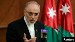 "FILE - Ali Akbar Salehi, head of Iran's atomic energy acency, says his countrymen should ""have no doubt that the nuclear issue will be resolved in Iran's favor."""