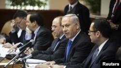 Thủ tướng Israel Benjamin Netanyahu trong cuộc họp nội các hàng tuần ở Jerusalem, ngày 13/1/2013.