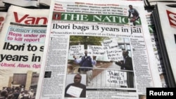 Newspapers detail British court sentencing of James Ibori, former governor of a Nigerian oil state, for embezzling $79 million, Lagos, April 18, 2012.