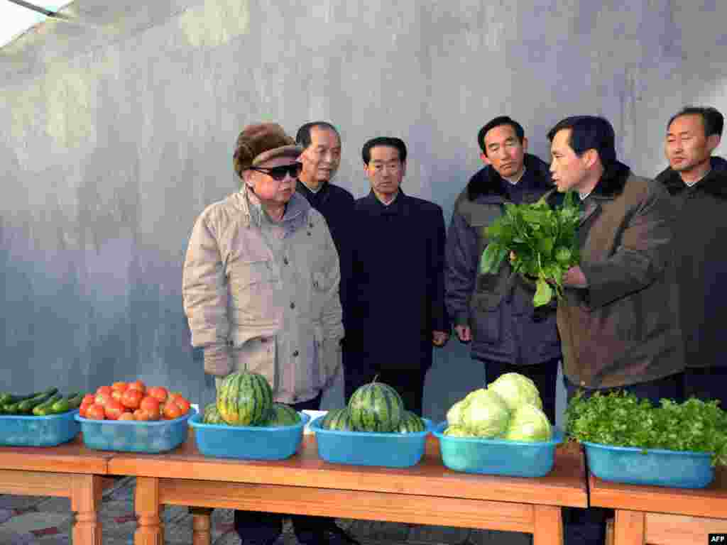The late North Korean leader Kim Jong Il inspects the Hoesang area farm in Hamhung city in South Hamgyong province, North Korea. (Undated file photo released shortly after his death, December 2011)