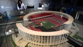 Miniature model of the National Stadium on display during preparations to host 2014 soccer World Cup, Brasilia, Brazil, April 1, 2013.