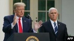 صدر ٹرمپ کا کہنا ہے کہ کرونا سے متاثرہ اہلکار اُن سے رابطے میں تھا اس میں کرونا کی تشخیص حیران کن ہے۔ (فائل فوٹو)