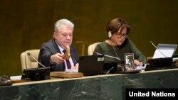 유엔총회 부의장인 볼로디미르 옐첸코 우크라이나 대사가 5일 뉴욕에서 열린 유엔총회를 주재했다. 오른쪽은 루스 드미란다 유엔총회 사무총장.