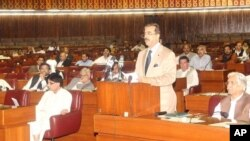 یوسف رضا گیلانی صدر اعظم پاکستان حین حضور در مجلس نمایندگان پاکستان در اسلام آباد
